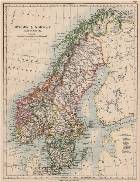 Associate Product SCANDINAVIA. Sweden Norway.Railways Undersea telegraph cables. JOHNSTON 1895 map