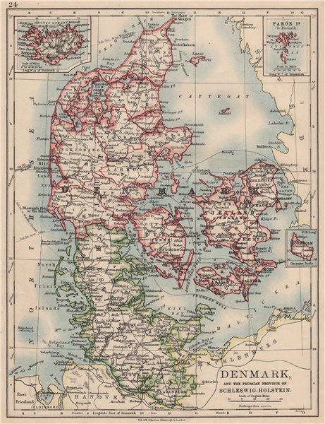 Associate Product DENMARK SLESVIG-HOLSTEN. Prussian Schleswig-Holstein. JOHNSTON 1895 old map