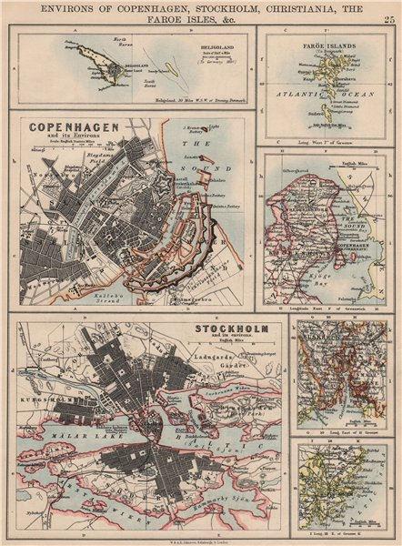 Associate Product SCANDINAVIAN CITIES. Copenhagen Stockholm Oslo Christiania.JOHNSTON 1895 map