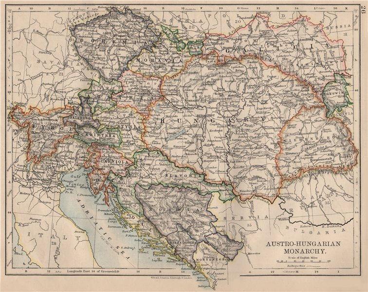 Associate Product AUSTRO-HUNGARIAN MONARCHY. Dalmatia Slavonia Siebenburgen &c.  JOHNSTON 1895 map