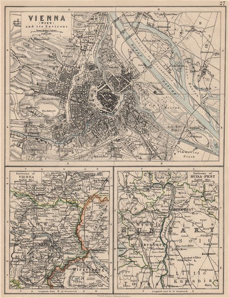 Associate Product VIENNA. City plan & environs. Also Budapest environs. Austria-Hungary 1895 map