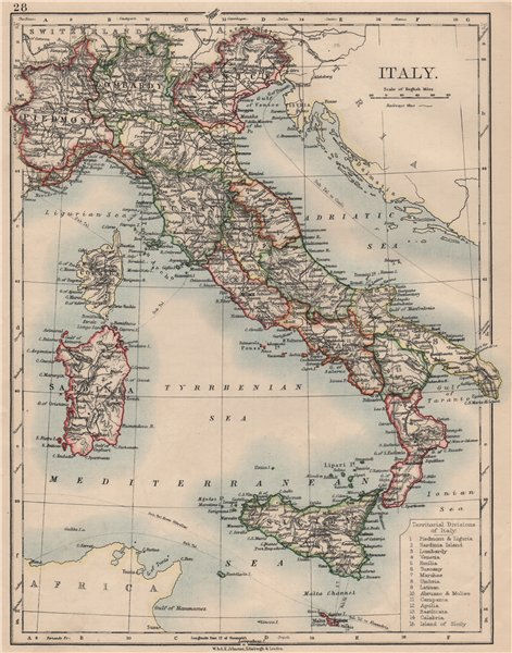 Associate Product ITALY. Showing states/territorial divisions. JOHNSTON 1895 old antique map
