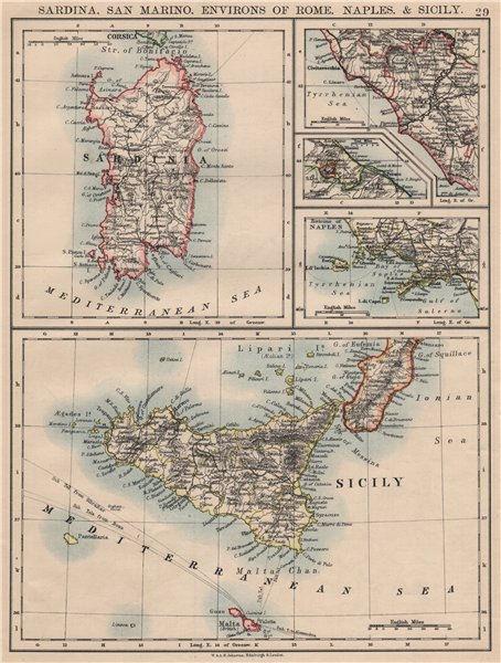 Associate Product ITALIAN ISLANDS. Sardinia Sicily Ischia Capri Malta S Marino JOHNSTON 1895 map