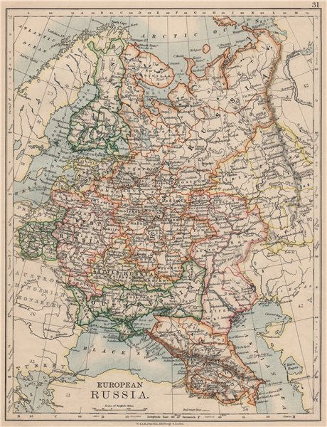 Associate Product EUROPEAN RUSSIA. Shows Great/Little/West/South Russia.Poland.JOHNSTON 1895 map