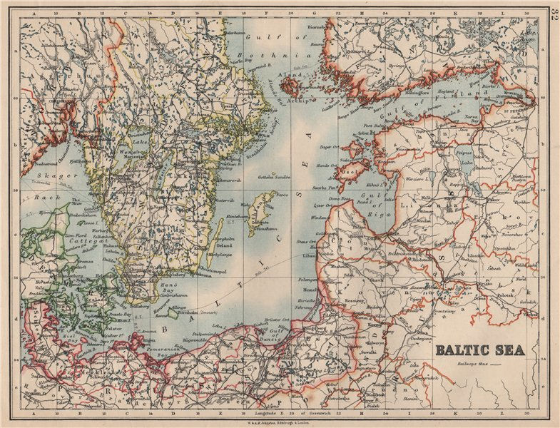 Associate Product BALTIC SEA. Sweden Prussia Denmark Livonia Courland Finland.  JOHNSTON 1895 map
