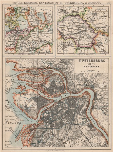 Associate Product ST PETERSBURG. Town city plan & environs. + Moscow environs. JOHNSTON 1895 map
