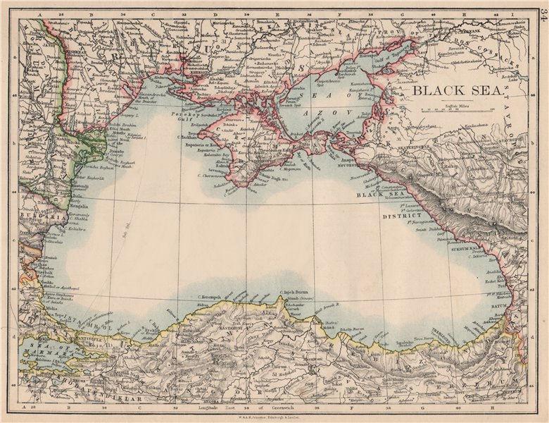 BLACK SEA. Russia Turkey Crimea Romania Bulgaria Kutais. JOHNSTON 1895 old map