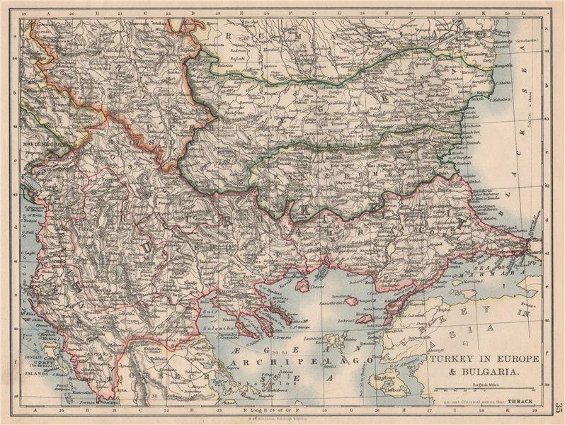 Associate Product TURKEY IN EUROPE & BULGARIA. Rumili East Rumelia Balkans. JOHNSTON 1895 map