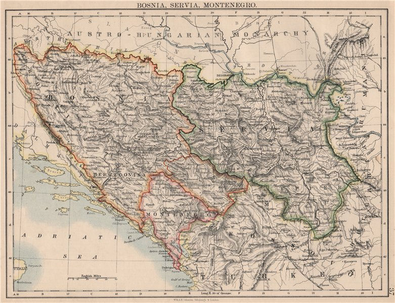 Associate Product BOSNIA SERVIA MONTENEGRO. Balkans Serbia Croatia Herzegovina.JOHNSTON 1895 map
