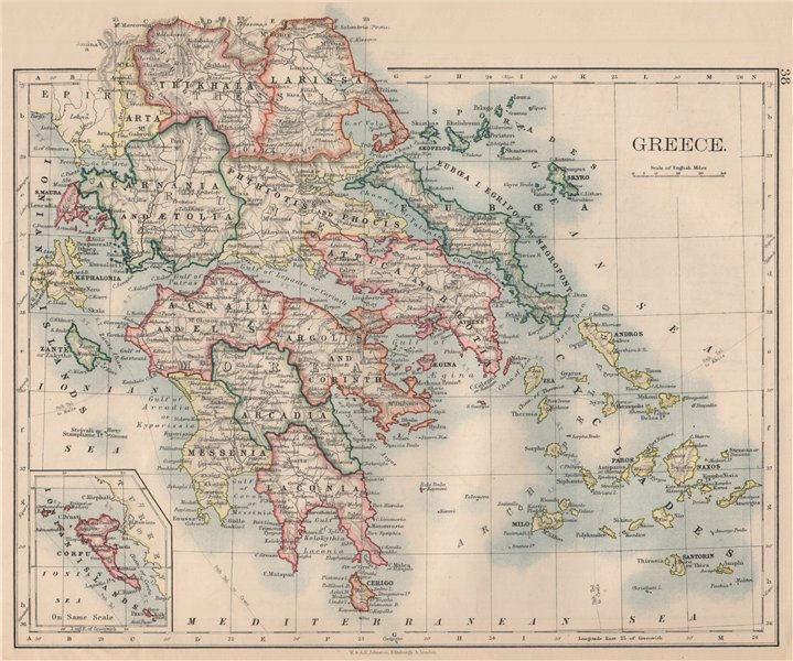 Associate Product GREECE. Morea Thessaly Rumelia Cyclades Aegean Ionian Islands. JOHNSTON 1895 map