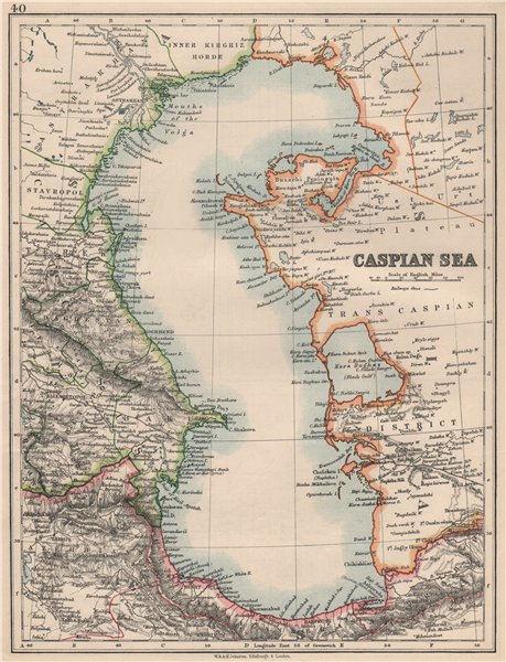 "Associate Product CASPIAN SEA. Baku Persia Astrakan. ""Inner Kirghiz Horde"".  JOHNSTON 1895 map"