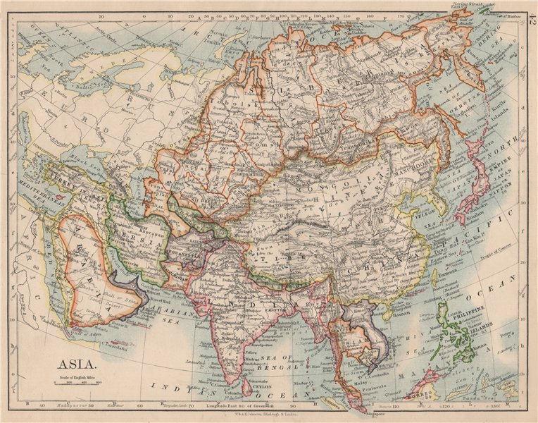 Associate Product ASIA POLITICAL. Persia Siam Hejaz China Japan Corea Turkestan. JOHNSTON 1895 map