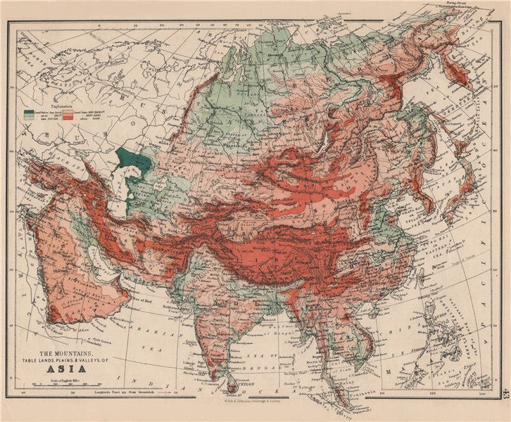 Associate Product ASIA PHYSICAL. Relief Mountain heights Ocean depths Rivers. JOHNSTON 1895 map