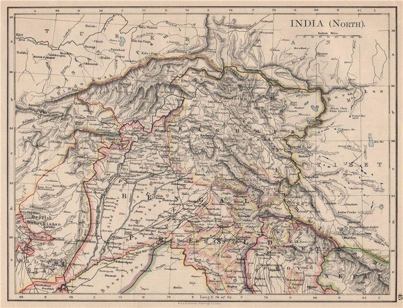 Associate Product BRITISH INDIA NORTH. Jammu Kashmir Punjab Himalayas. JOHNSTON 1895 old map