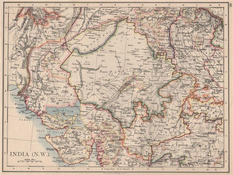 Associate Product BRITISH INDIA NW. Rajputana (Rajasthan) Sindh Gujarat Malwa.  JOHNSTON 1895 map