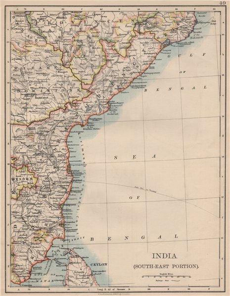 BRITISH INDIA SE.Madras Karnatak. French Karikal Pondicherry.JOHNSTON 1895 map
