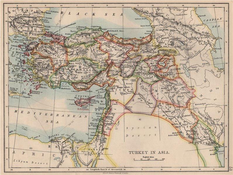 Associate Product OTTOMAN TURKEY IN ASIA. Cyprus Levant Mesopotamia Palestine. JOHNSTON 1895 map