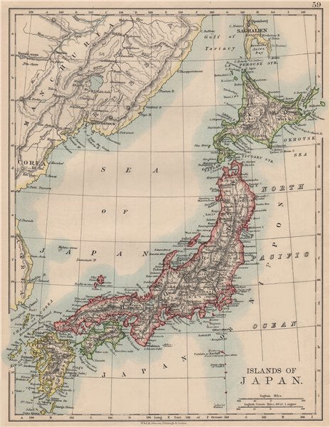 "Associate Product Islands of JAPAN. Hachijo ""penal settlement"". JOHNSTON 1895 old antique map"