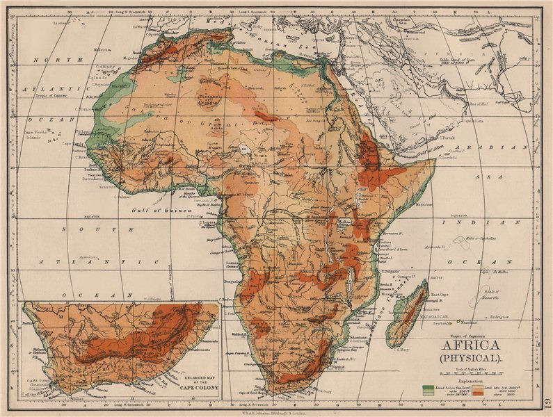 Associate Product AFRICA PHYSICAL. Relief ocean depths rivers. JOHNSTON 1895 old antique map