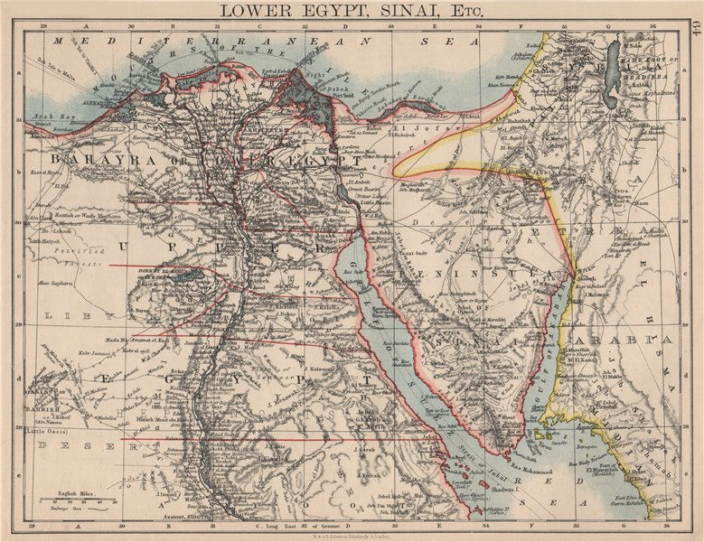 Associate Product LOWER EGYPT & SINAI. Provinces. Nile valley/delta. Railways.  JOHNSTON 1895 map