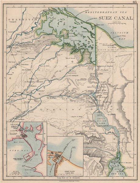 Associate Product SUEZ CANAL. Plan of the canal. Plans of Suez & Port Said. JOHNSTON 1895 map
