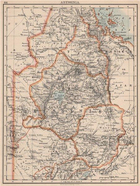 Associate Product HABESH or ABYSSINIA. Tigre Amhara Shoa Godjam. Ethiopia. JOHNSTON 1895 old map