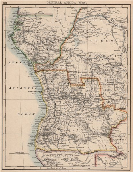 Associate Product COLONIAL CENTRAL AFRICA. French Congo Free State Portuguese West Af.  1895 map