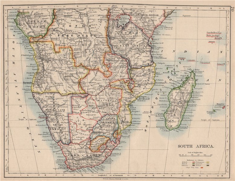 Associate Product COLONIAL SOUTHERN AFRICA. German/British/Portuguese/French. JOHNSTON 1895 map