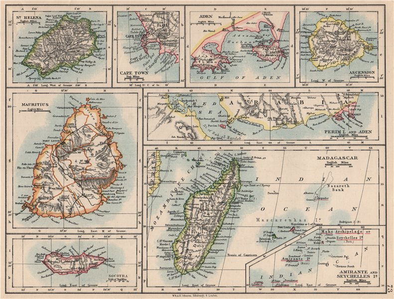 Associate Product AFRICAN ISLANDS.Mauritius Madagascar Madeira Canaries St Helena 1895 old map