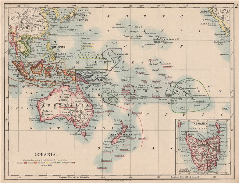 Associate Product COLONIAL OCEANIA PACIFIC.British Dutch Spanish French German Port. 1895 map