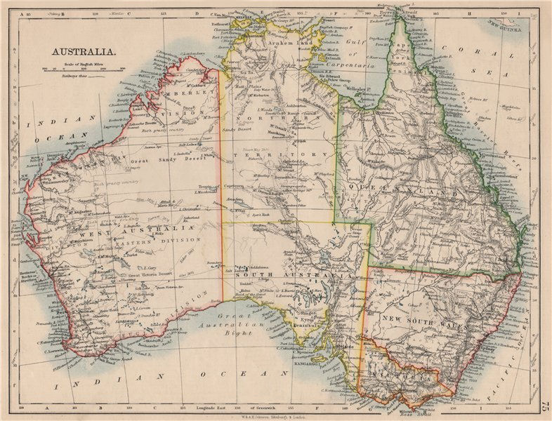 Associate Product AUSTRALIA. States. Showing Northern Territory within SA. JOHNSTON 1895 old map