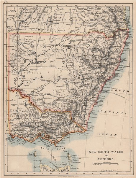 Associate Product NEW SOUTH WALES & VICTORIA. Shows railways telegraph cables. Australia 1895 map