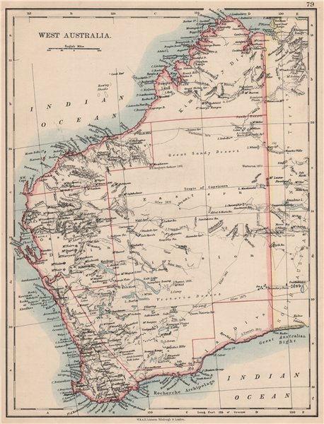 WEST AUSTRALIA. Goldfields Explorers route Giles Forrest Warburton Roe 1895 map