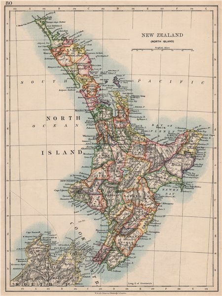 Associate Product NORTH ISLAND NEW ZEALAND. Showing counties telegraph cables. JOHNSTON 1895 map