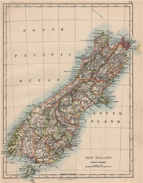 Associate Product SOUTH ISLAND NEW ZEALAND. Showing counties. Telegraph cables.  JOHNSTON 1895 map