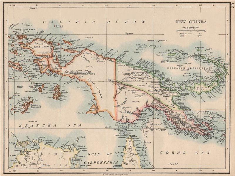Associate Product COLONIAL NEW GUINEA. Kaiser Wilhelm Land. British & Dutch New Guinea  1895 map