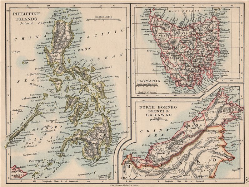 EAST ASIA. Philippines Tasmania North Borneo Brunei Sarawak. JOHNSTON 1895 map