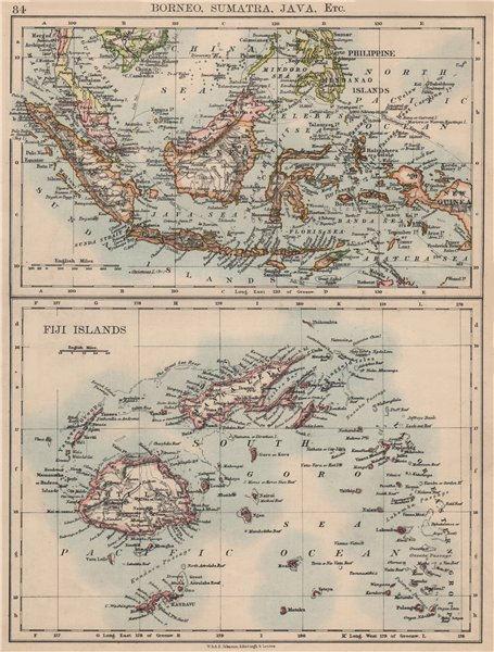 INDONESIA & FIJI. Sunda Islands.Borneo Java Sumatra. Viti/Vanua Levu 1895 map
