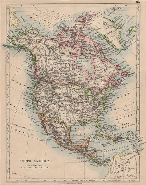 "Associate Product NORTH AMERICA POLITICAL. Greenland ""Danish America"" USA Canada Mexico 1895 map"