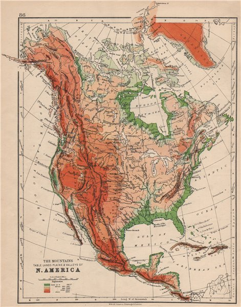 Associate Product NORTH AMERICA PHYSICAL. Relief. Key mountains heights. Ocean depths  1895 map