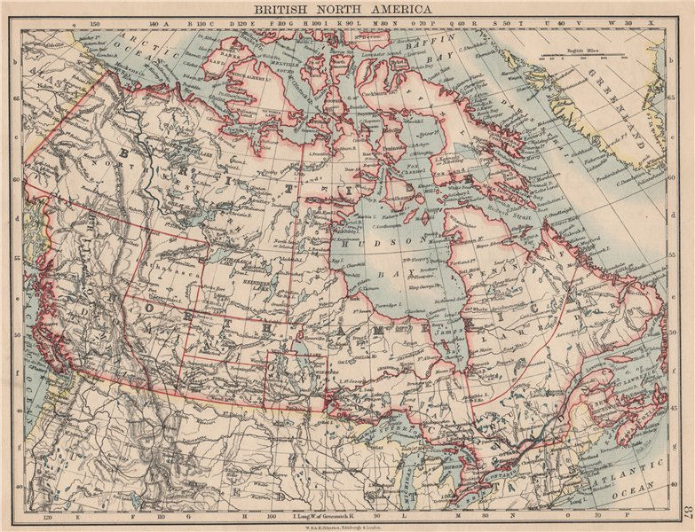 """Associate Product DOMINION OF CANADA. Showing """"new provinces"""" in red. Canadian Pacific 1895 map"""