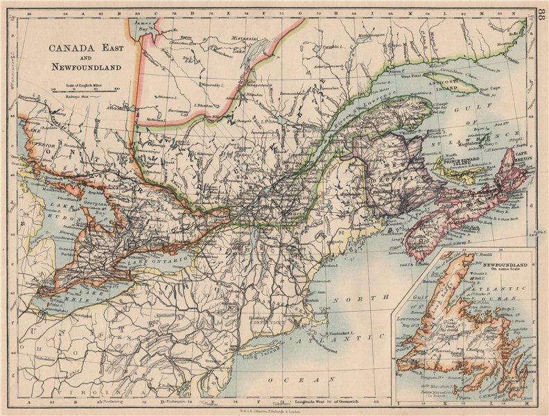 Associate Product EASTERN CANADA. Ontario Quebec Maritime Provinces NB PE NS.  JOHNSTON 1895 map