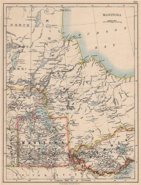Associate Product MANITOBA. Winnipeg Canadian Pacific Railroad Keewatin Canada.JOHNSTON 1895 map