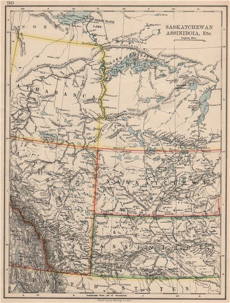 Associate Product CANADA PRAIRIES. Alberta Saskatchewan Assiniboia Athabasca. JOHNSTON 1895 map