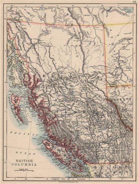 Associate Product BRITISH COLUMBIA. Province map. Railroads. Vancouver island.  JOHNSTON 1895