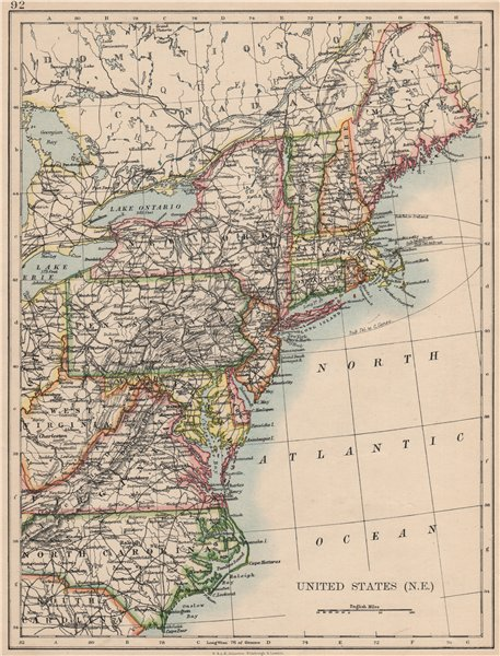 Associate Product UNITED STATES NORTH EAST. New England Appalachia Atlantic states. USA 1895 map
