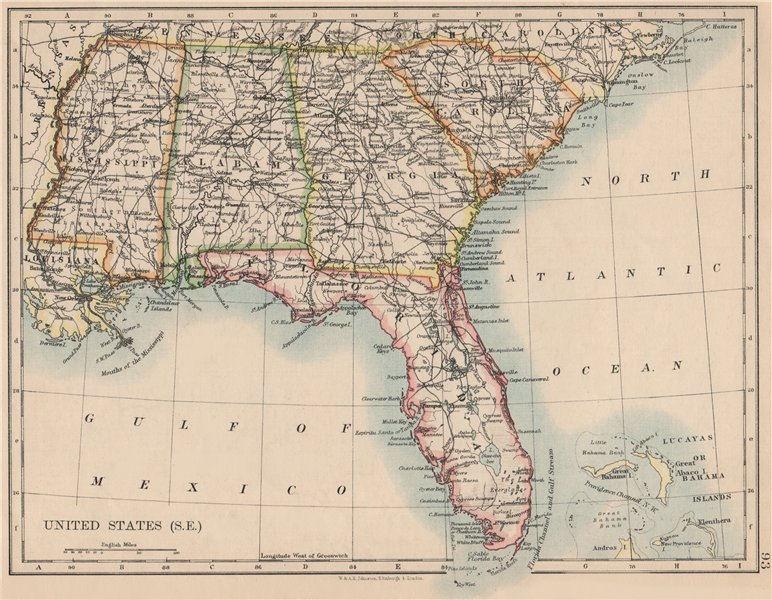Associate Product USA DEEP SOUTH. Florida South Carolina Georgia Alabama Mississippi USA 1895 map