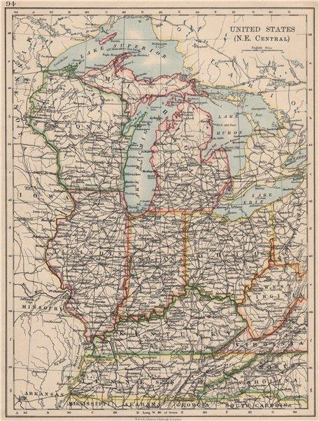 Associate Product USA MID WEST. Wisconsin Michigan Illinois Ohio Indiana Kentucky TN 1895 map