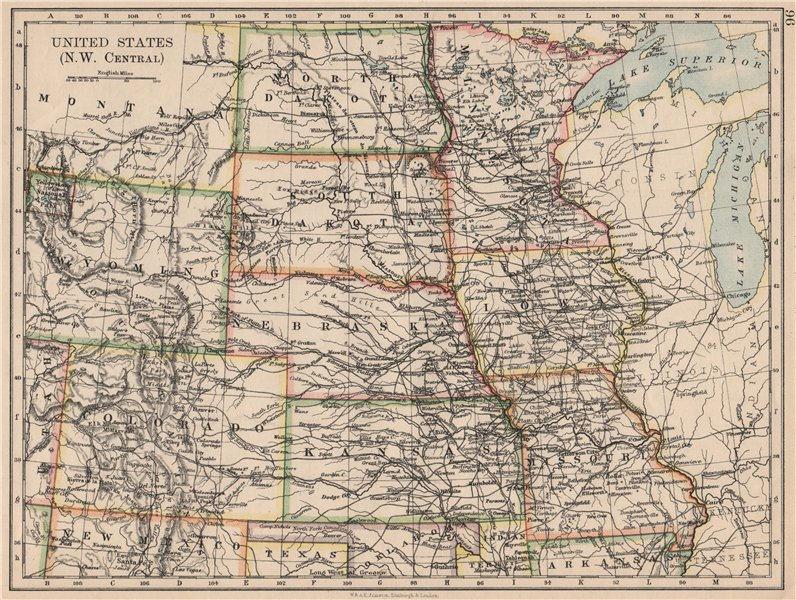 USA PLAINS STATES. Iowa Minnesota Kansas NE ND SD Colorado. JOHNSTON 1895 map