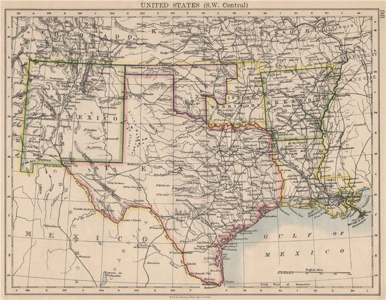 Associate Product USA SOUTH CENTRAL.Texas.Proposed state of Oklahoma inc Indian Territory 1895 map